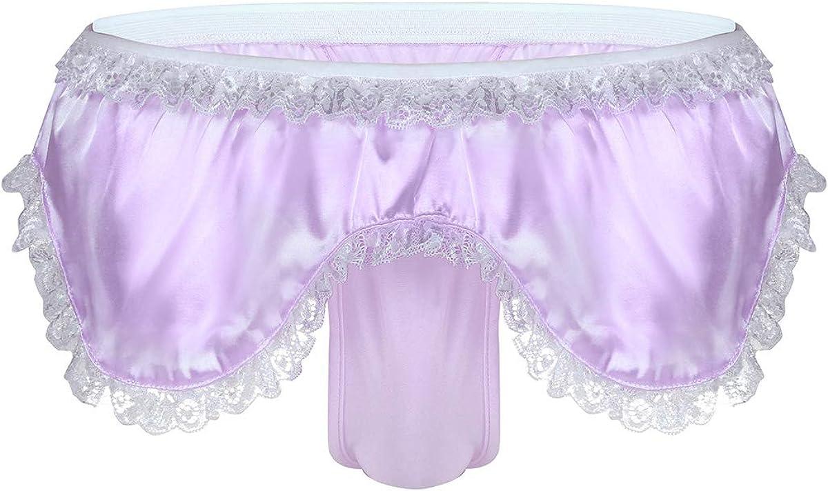 CHICTRY Mens Lingerie Satin Ruffled Skirted Panties Thong Tanga Knickers Underwear Briefs