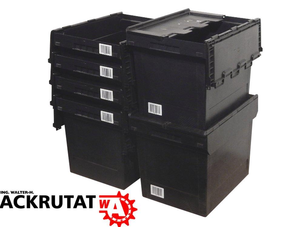 5 x Bito MB 6442 Mehrwegbehä lter grau mit Deckel MBD 64 schwarz Stapelbox Lagerkiste
