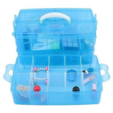 Amazon.com: Caja de almacenamiento de plástico para joyas, 3 ...