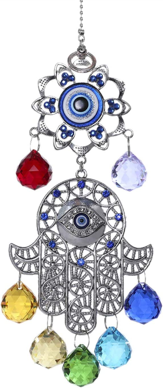 YU FENG Hamsa Hand with Blue Evil Eye Protection Hanging Crystal Ornament with Chakra Energy Crystal Balls