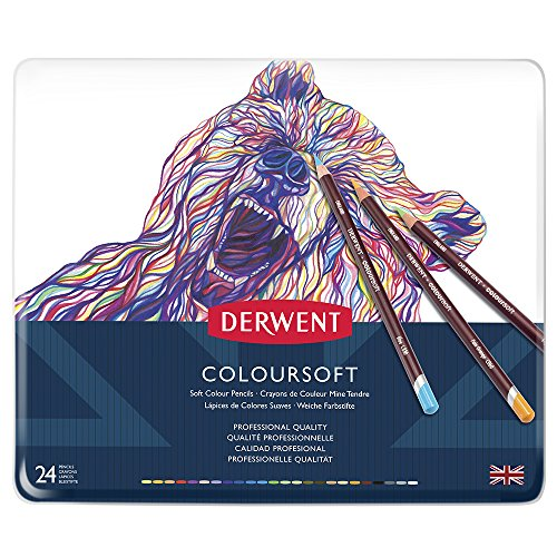 Derwent Coloured Pencils, Coloursoft Pencils, Drawing, Art, Metal Tin, 24 Count (0701027)