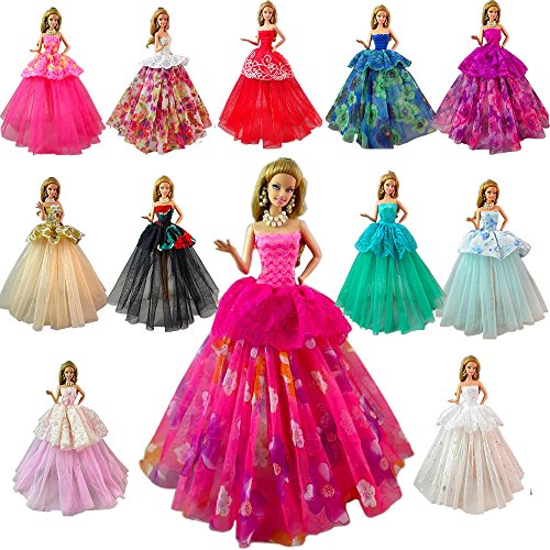 Barwa Lot 7 Pcs Doll Dresses Handmade Fashion Wedding Party Ball Gown Lace Dresses Outfits for Barbie Doll Clothes Birthday Christmas Gift (Lace Barbie)