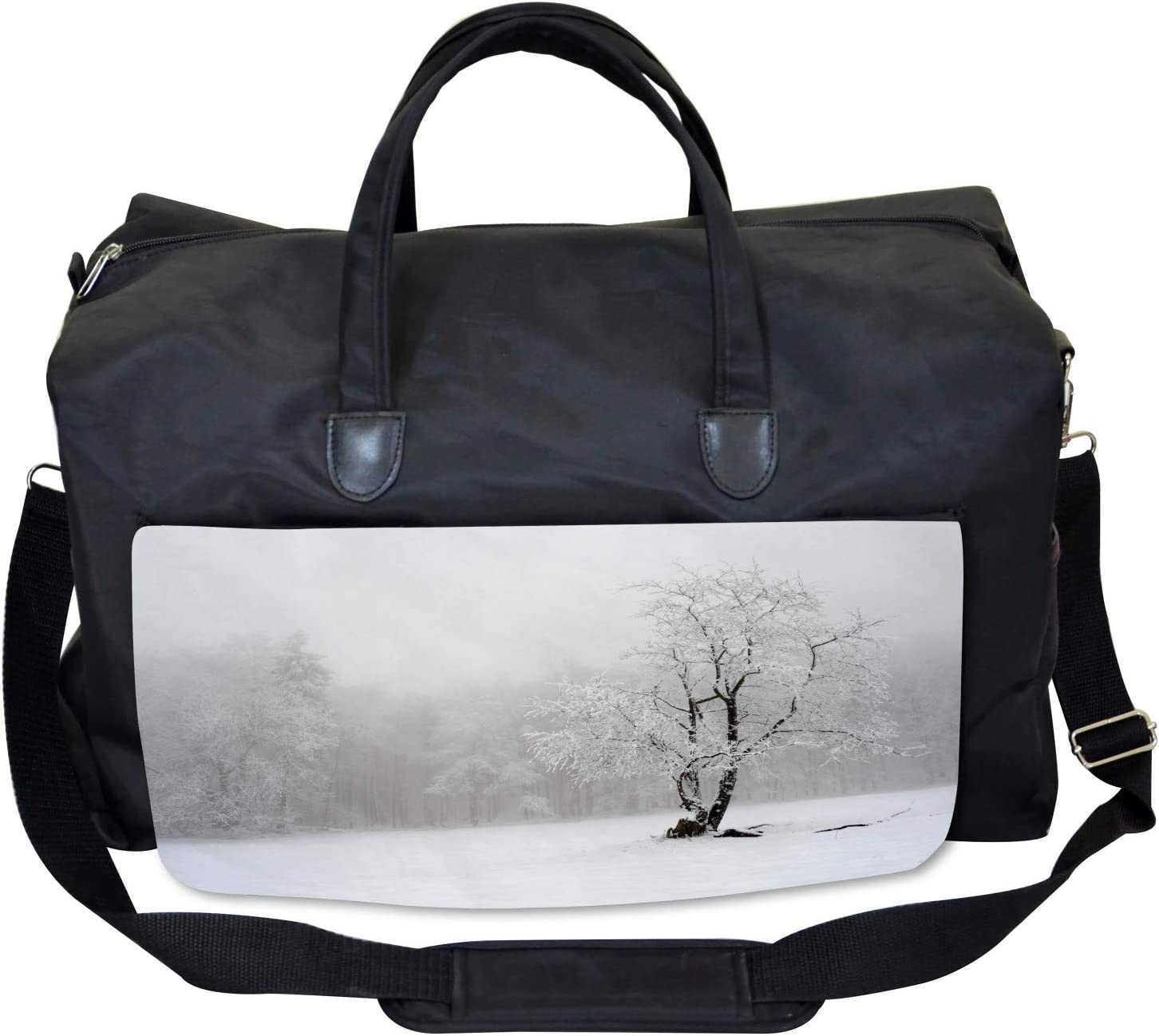 Ambesonne Tree Gym Bag Large Weekender Carry-on Winter Snowy Forest Cold