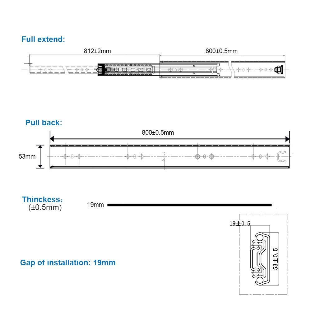 Heavy Duty Full Extension Drawer Slide 450mm 120 kg Bearing Capacity Drawer Runner Drawer Rail 1 Pair 2 Pieces