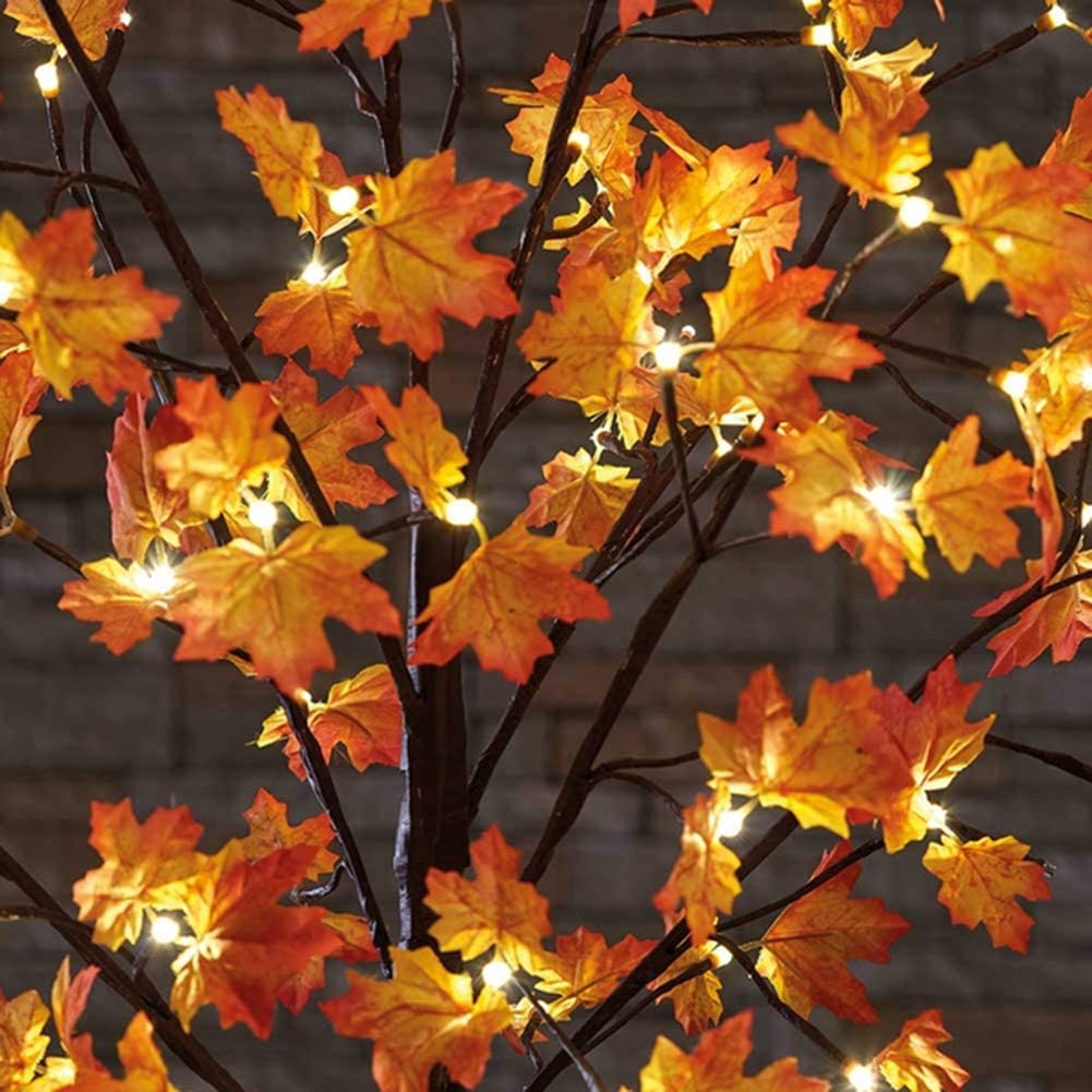 AutoHigh 2 Pack 30 Inch 20 LED Lighted Branches Battery Operated Maple Leaf Table Lights for Thanksgiving Christmas Decoration