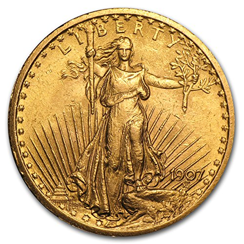 - 1907 $20 St. Gaudens Gold Double Eagle AU G$20 About Uncirculated