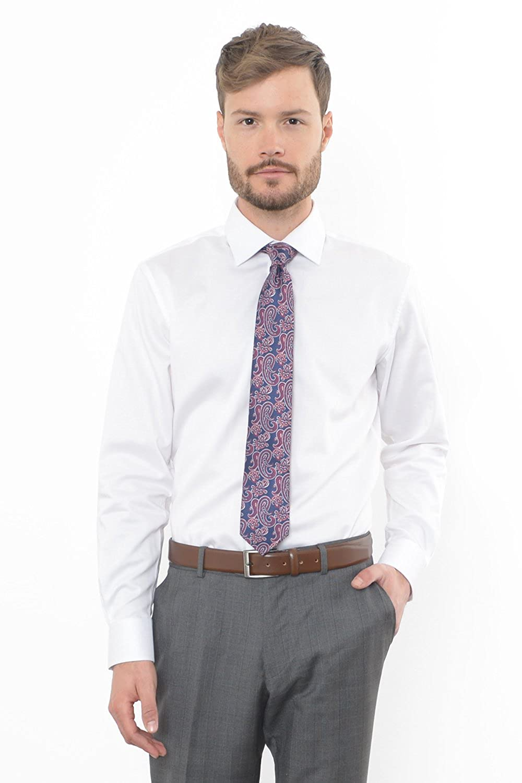 Combatant Gentlemen Mens Slim Fit Dress Shirt Semi Spread Collar At