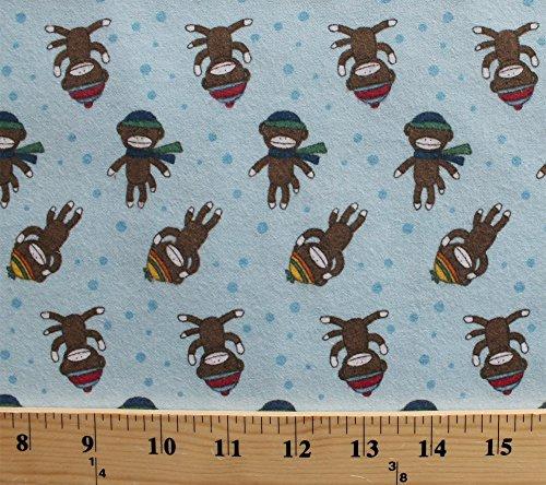 Flannel Sock Monkey Monkeys Winter Apparel Hats Scarves Blue Cotton Flannel Fabric Print (f2104-blue) ()
