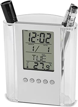1pcs Clear Multi-Function LED Desk Alarm Clocks Ouniman Student Digital Desk Pen Pencil Holder Perpetual Calendar,Thermometer for Home Office