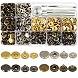 jewelry press - LANMOK 160 Sets Snap Fasteners Durable Metal Snap Button Kit Tool Press Studs with Base & Fixing Tool for Overalls Backpacks Belts Leather Craft-12.5mm in Diameter