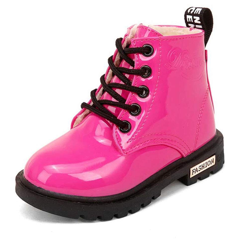 Daclay Stivali per Bambini Bambini Ragazzi e Ragazze Stivali Martin Impermeabili Color Caramello e Velluto