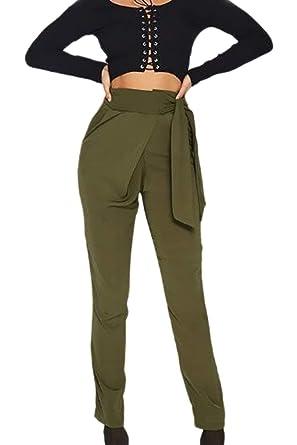 4788f3aed7a6 Printemps Eté Elégante Mode Pantalon en Tissu Uni Manche Bandage Bowknot  Style de fête Taille Haute avec Fermeture Éclair avec Poches Slim Fit  Trousers ...