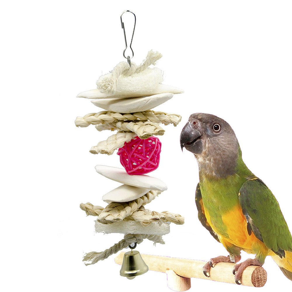 White 2010cm White 2010cm Huayue Parred Bird Wooden Pet Toy Humble Pet Supplies Cuttlefish Os String Corn Husk (color   White, Size   20  10cm)