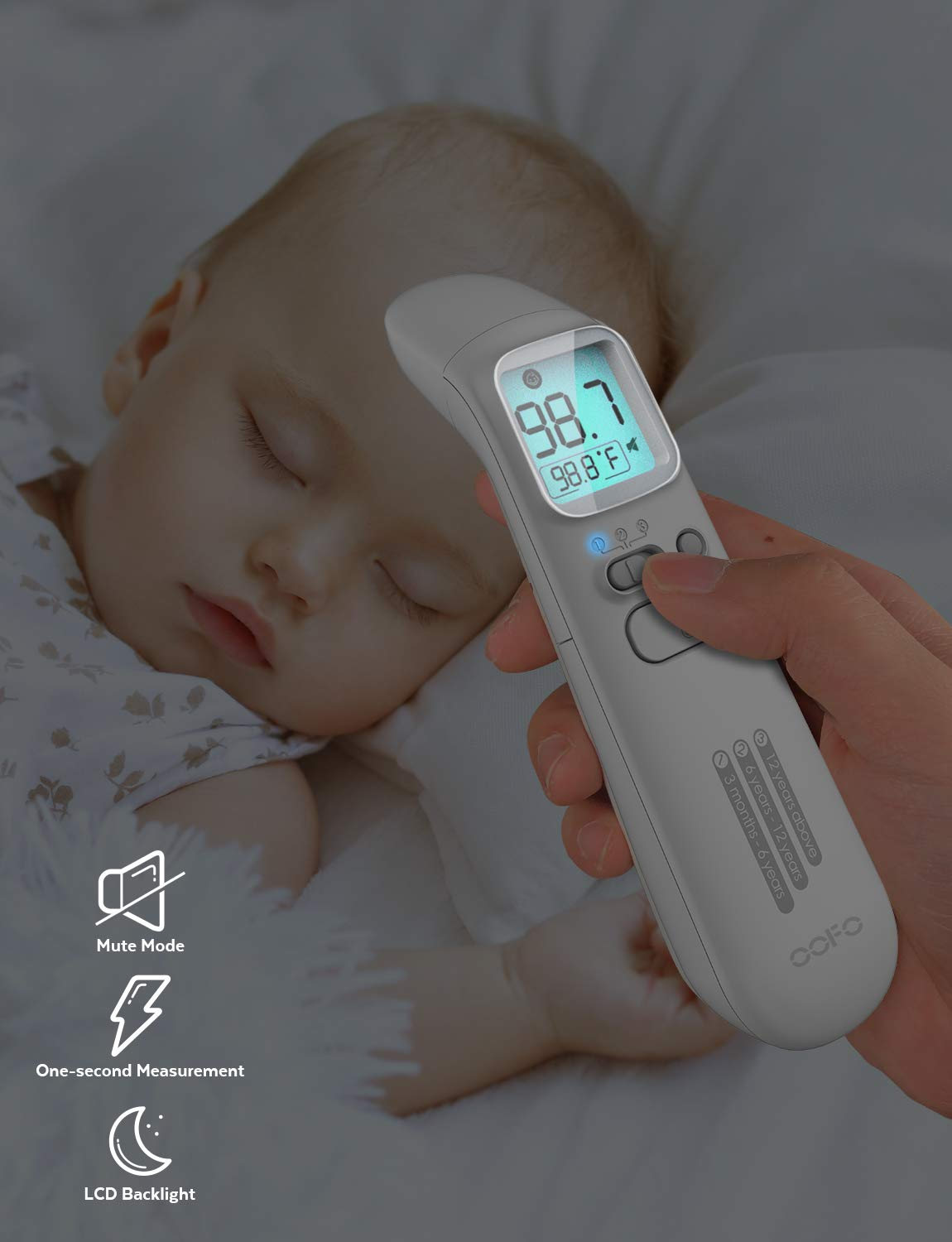 Kid and Adult Thermometer Baby Thermometer OOFO DigitalThermometer for Fever Ear and Forehead Function Surface and Room 4 Modes Medical Infrared Thermomer for Body