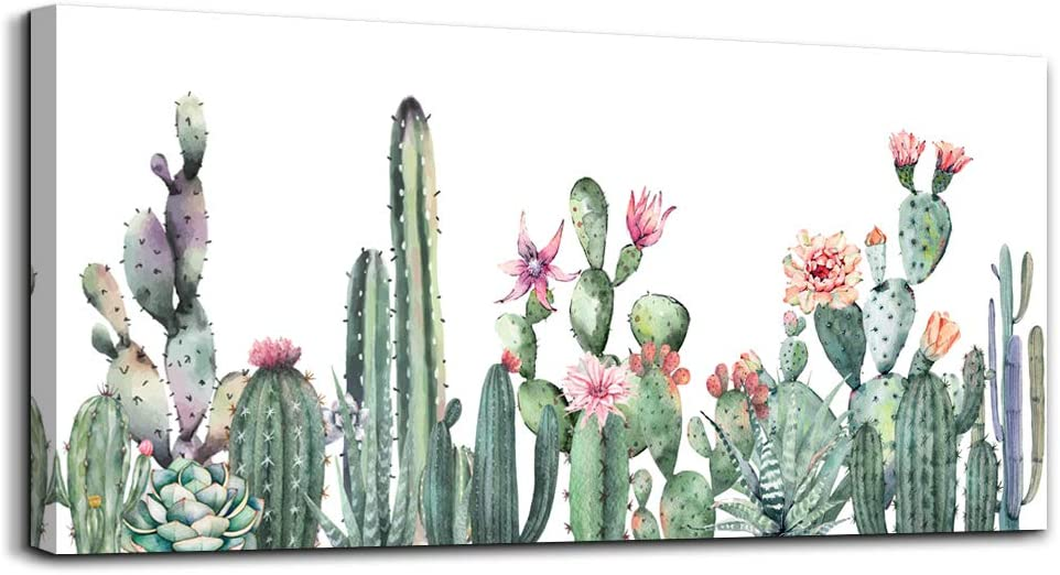 Canvas Art Simple Life Green Cactus Desert Plant Painting Wall Art Decor for Living Room Watercolor Canvas Prints Ready to Hang for Home Decoration Bedroom Kitchen Bathroom Office Posters Artwork