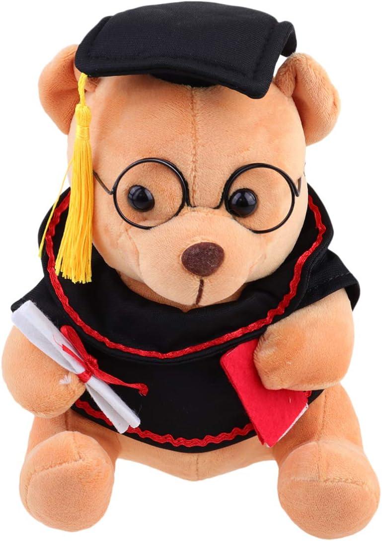 PRETYZOOM 2020 Regalo de Graduación Dr. Muñeca de Oso Oso de Peluche Oso de Peluche Almohada para Dormir Accesorios de Fotos para Compañero de Clase Regalo de Novia 18 Cm (Marrón Claro)