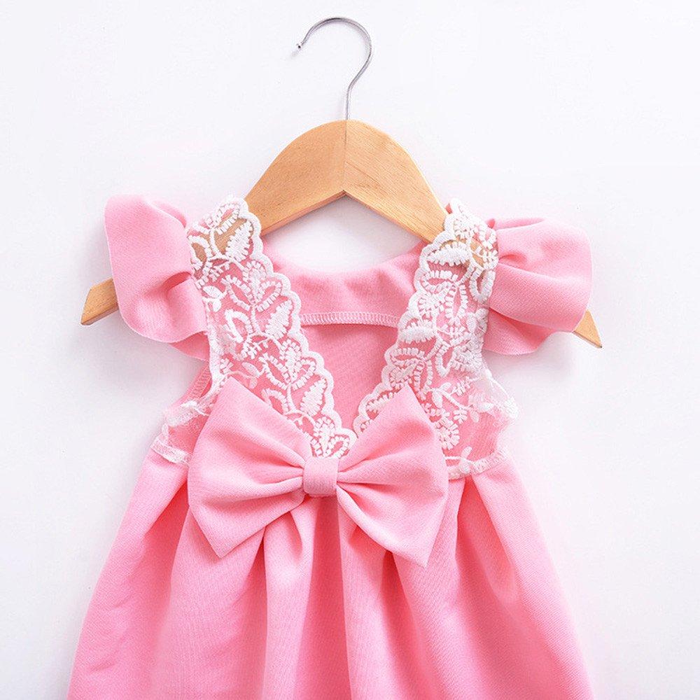 12M-3T Bowknot Backless Princess Cotton Dress Lace Dress FimKaul Baby Girls Dress