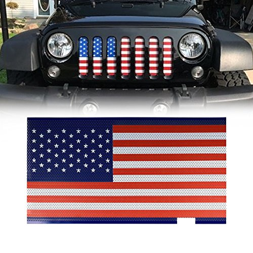 DIYTUNINGS Front USA American Flag Mesh Grille Grill Grid WITHOUT Key Hood for Jeep Wrangler JK JKU Unlimited Rubicon Sahara X Off Road Sport Exterior Accessories Parts 2007-2017