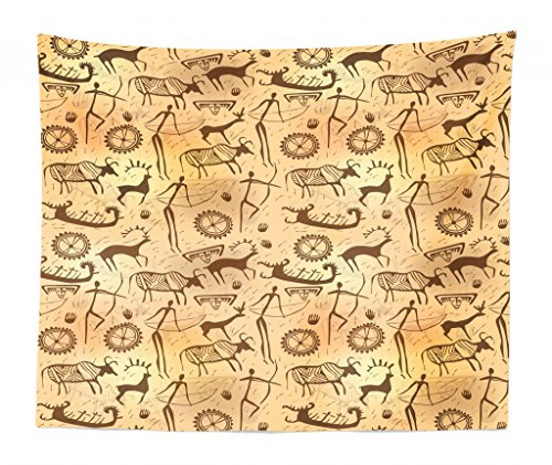 Lunarable Primitive Tapestry King Size, Dated Irregular Caveman Paint Forms Bird Cow Shape Early Modern Humans, Wall Hanging Bedspread Bed Cover Wall Decor, 104 W X 88 L Inches, Tan -