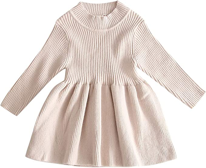 YGbuy Vestido de Suéter Cálido Sólido para Niñas Vestidos de ...