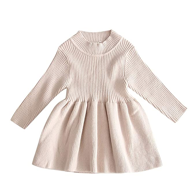 TWIFER Vestido de Manga Larga para Bebé Vestido de Suéter Niña ...