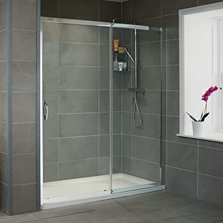Sliding Shower Door 1100mm 8mm Glass Aquafloe Iris Range Amazon Co Uk Kitchen Home
