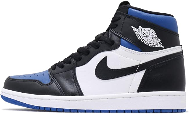 AIR JORDAN Nike Mens 1 Retro Royal Toe Black/White/Game Royal Leather Size 10.5