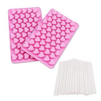 Dee Plus 2 piezas molde de silicona corazón cubo de hielo de chocolate molde de silicona ...