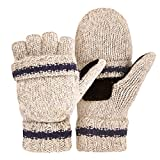OMECHY Winter Unisex Wool Knitted Fingerless Convertible Gloves with Mitten Cover One Size, Beige