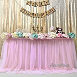 QueenDream Pink Fluffy Table Skirt Tulle Tutu Table Skirt for Rectangle Table for Girl's Birthday Party Baby Shower and Home Decor (L9(ft) H 30in)