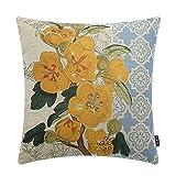 TRENDIN 18'' X 18'' Vintage Yellow Flowers with Blue Geometric Linen Cushion Cover Throw Pillow Case Sofa Decor(PL134)