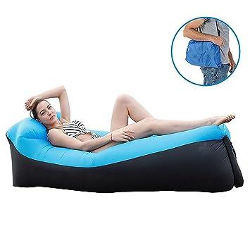 – Lounger, hinchable inflable Sofá Sofá hinchable con almohada integrada (hinchable Camilla, impermeable para camping, Park, playa, Hinterhof