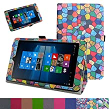 "iRULU Walknbook 3Mini Case,Mama Mouth PU Leather Folio 2-folding Stand Cover for 8"" iRULU Walknbook 3Mini / 8 Inch Windows 10 Tablet,Stained Glass"