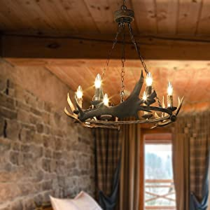 """LOG BARN 6 Lights Farmhouse Faux Antlers Chandelier in Hand-Polished Resin and Rusty Metal Finish, 31.5"""" Large Pendant Lighting for Kitchen Island, A03434"""