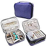 #9: Teamoy Travel Jewelry Organizer Case, Storage Bag Holder for Necklace, Earrings, Rings, Watch and More, High Capacity and Compact,Purple Dots