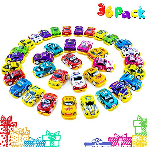 Faliilove Pull Back Cars, 36 Pack Mini Race Cars Toys Assorted Play Vehicles for Preschool Toddlers Boys & Girls Birthday Party Favors for Kids Gifts | Cake Topper Decorations | Easter Egg Fillers ()