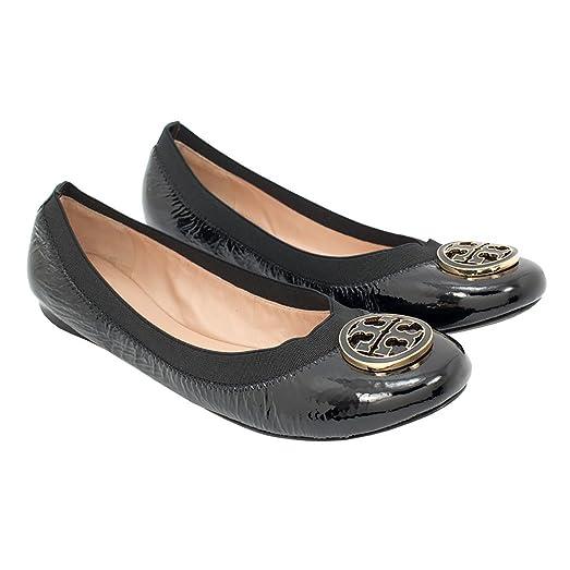 Tory Burch Caroline Ballet Naplak Elastic Flats - Black Patent (9)