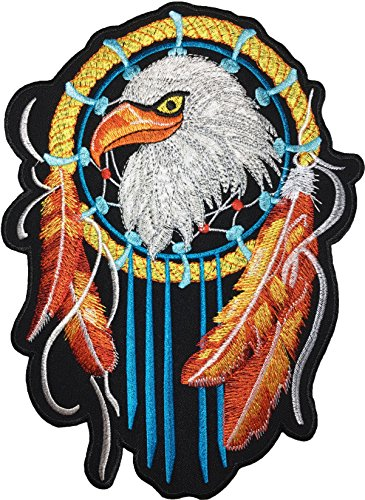[Large Size] Papapatch Eagle Dream Catcher Hawk Feather Biker Rider Motorcycle Jacket Vest Costume Embroidered Sewing Iron on Patch (IRON-EAGLE-DREAM-CATCHER-LARGE)