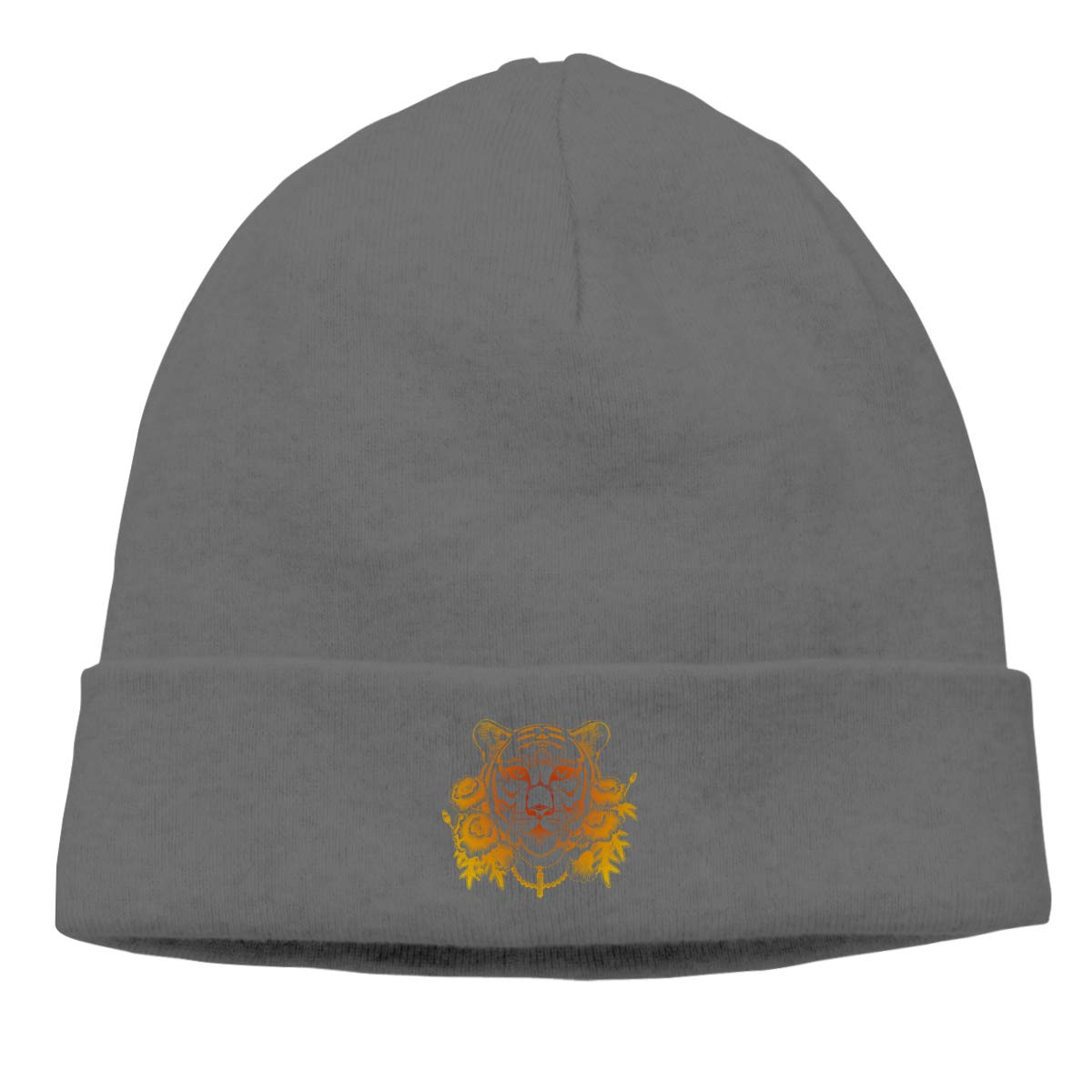 Four Golden Flowers Next to The Tiger Knit Caps Knit Hat Skull for Mens