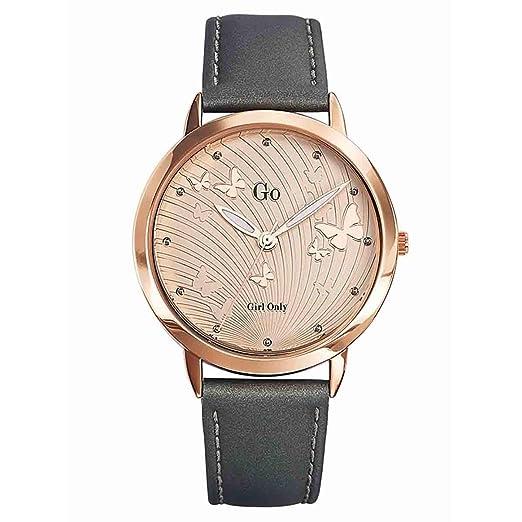 Go 698688 - Reloj de Pulsera Mujer, Cuero, Color Gris: Amazon.es: Relojes