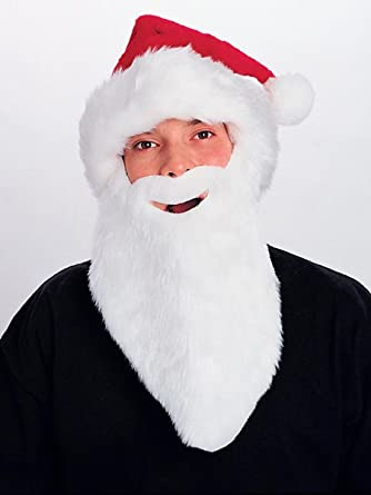 44f7c6183e063 Amazon.com  Rubie s Costume Co Plush Santa Hat with Beard Costume  Toys    Games