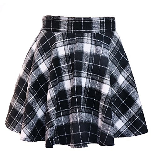 LifeWheel Winter Maiden Woolen Plaid Skirt/Womens Lady Sweet Short Princess Dress/Pleated School Uniform Skirt (Pleated Sweet)