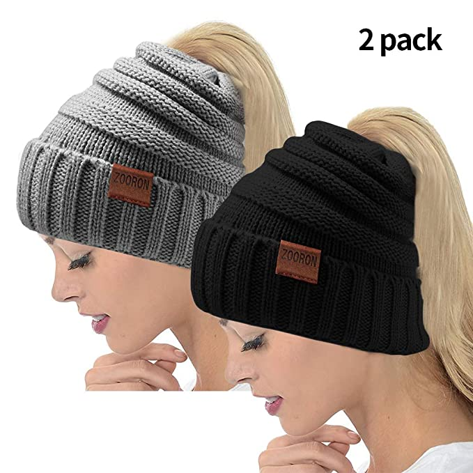 05020d90f ZOORON Ponytail Beanie Hat for Women, Messy Warm Stretch Cable Knit ...