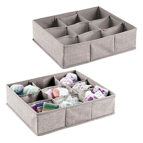 mDesign – Organizador para bebés – Juego de dos cajas organizadoras con nueve compartimentos para calcetines