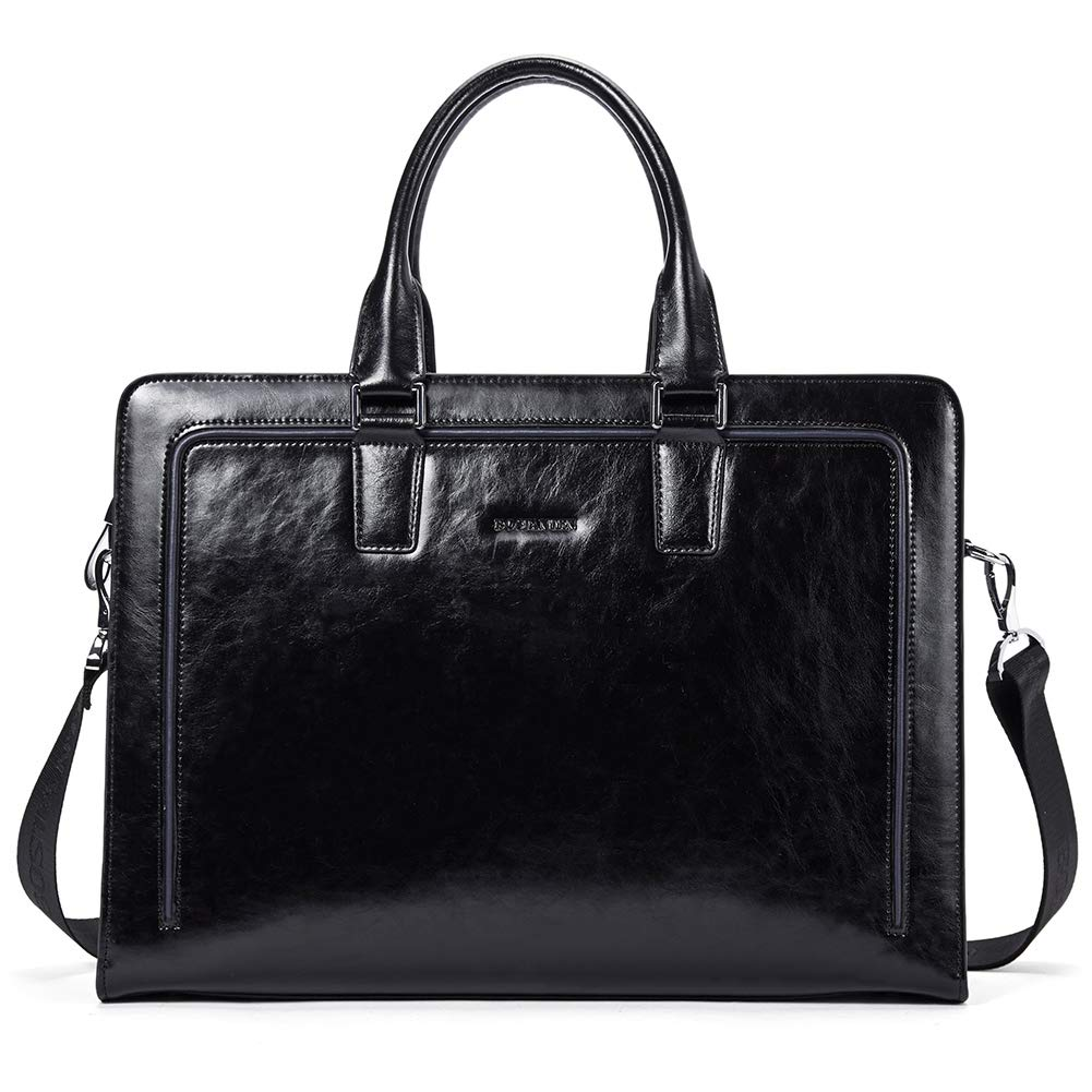 BOSTANTEN Women Genuine Leather Briefcase Tote Business Vintage Handbag 15.6'' Laptop Shoulder Bag Black