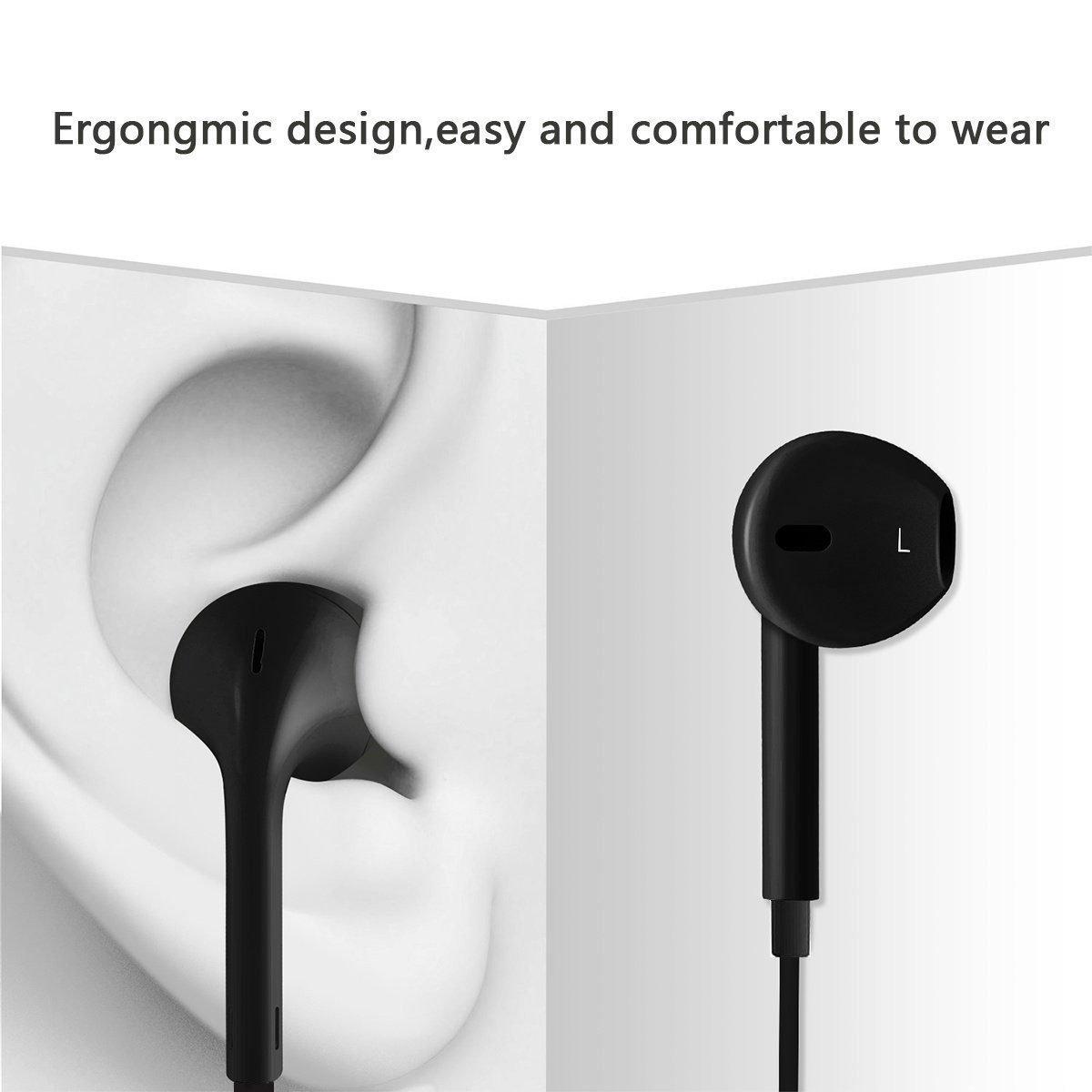 NCLINGLU, 2-Pack 3.5 mm Premium Earphones Headphone, [Stereo Mic Remote Control], Compatible iPhone iPad iPod Samsung Galaxy [Black]