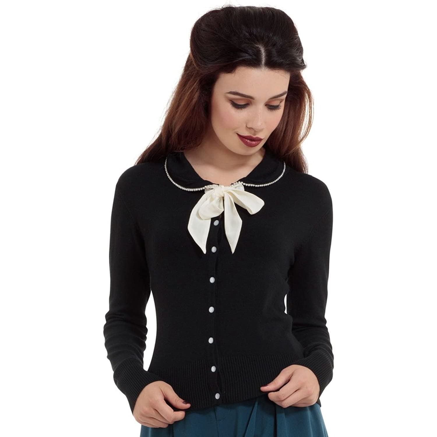 1950s Style Sweaters, Crop Cardigans, Twin Sets Womens Voodoo Vixen Katy Pearl Trim Cardigan With Removable Front Bow Black $52.95 AT vintagedancer.com