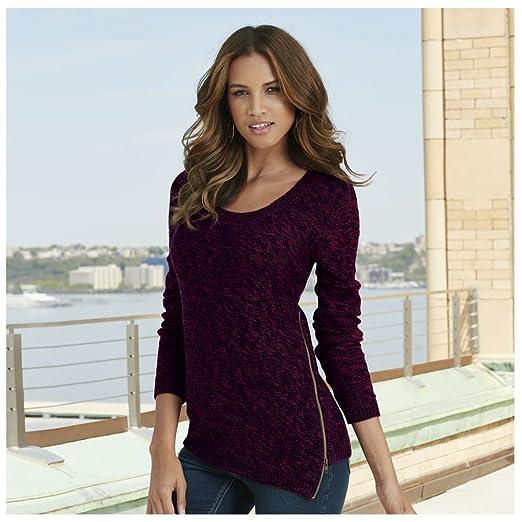 Amazon.com  K. Jordan Women s Marled Asymmetrical Sweater in Wine ... e4bcb159b