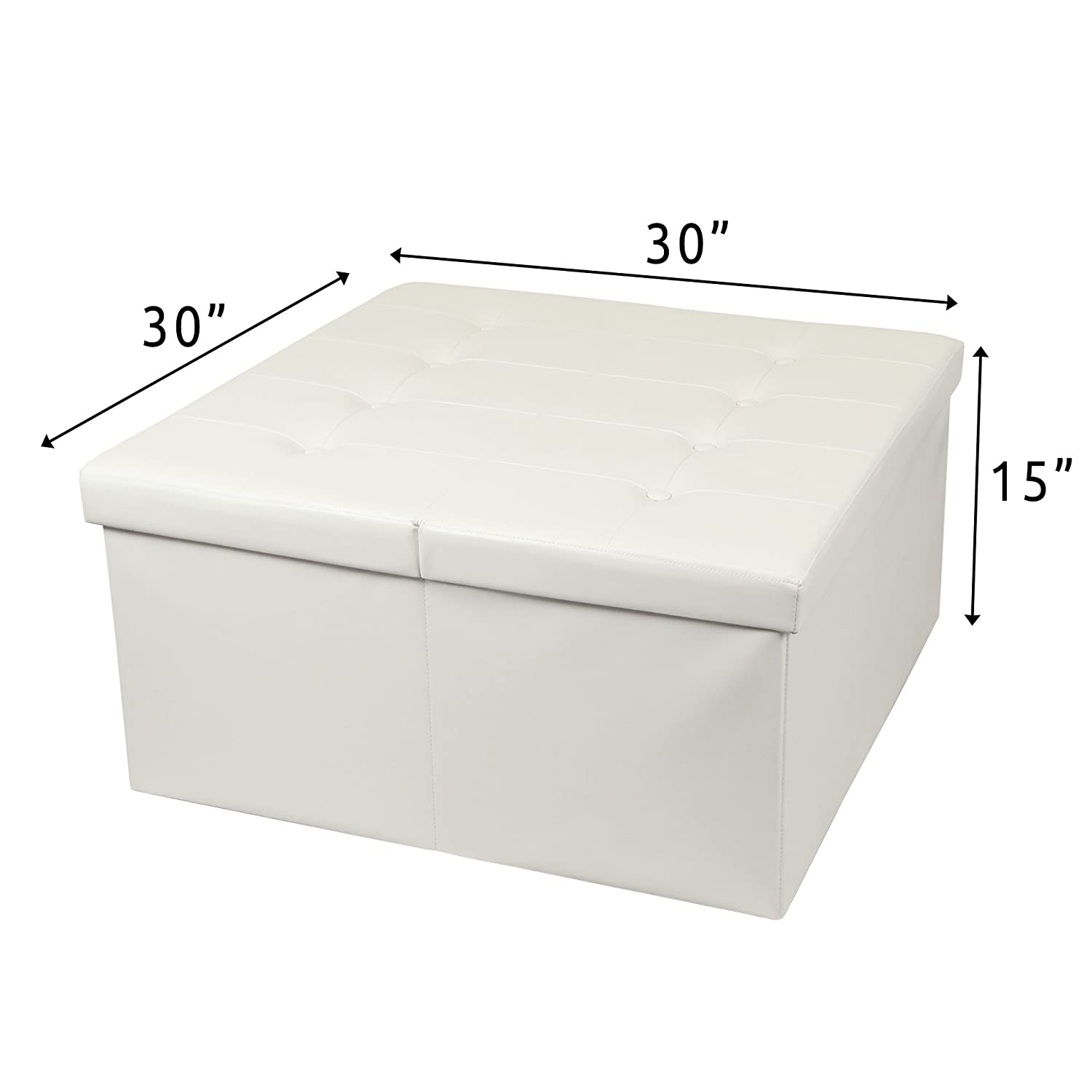 Otto Ben 30 Storage Coffee Table with Smart Lift Top Tufted Folding Faux Leather Trunk Ottomans Bench Foot Rest, Square, Ivory