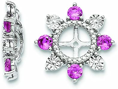 Finejewelers Sterling Silver Created Pink Sapphire Earring Jackets